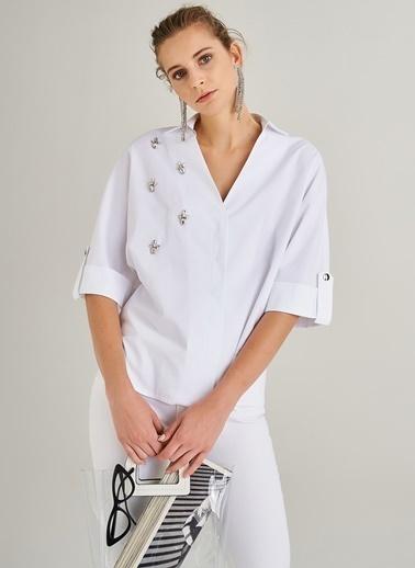 People By Fabrika Taş İşlemeli Gömlek Beyaz